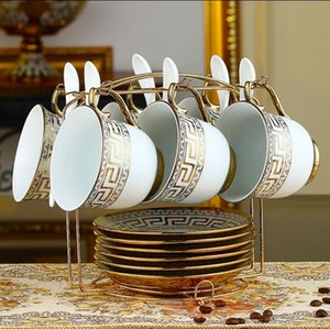 Wholesale Luxury Drinkware European Ceramic Tea Set Porcelain coffee set Coffee Pot Coffee Jug Cup Saucer set