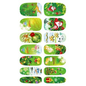 Wholesale Christmas Gift Sheet Nail Stickers Christmas Patterns D Water Transfer Decals Polish DIY Nail Art Decoration Kit