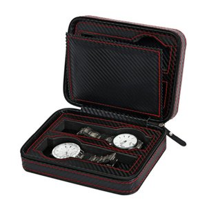 Portable 2 4 Grids Carbon Fibre Leather Watch Box with Zipper Watches Jewelry Bracelet Display Case Storage Travel Watch Holder