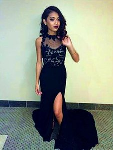 2019 Summer Cheap African Lace Top Chiffon Skirt Evening Gowns Side Split Black girls Prom Dresses Party Wear Mermaid Abendkleider on Sale