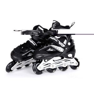 Wholesale Inline Professional Adult Men Women Slalom Ice Skating Skate Shoes Adjustable Size Adjustable PU Flashing Wheels Adulto Black