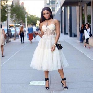 Short Skirt Ivory See Through Corset Bodice Sexy Tea Length Prom Dresses 2018 Spaghetti Straps Cocktail Club Wear on Sale