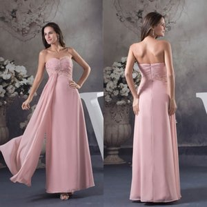 Wholesale Sweetheart Strapless Long Chiffon Bridesmaid Dresses Beach Bohemian Beaded Pleats Wedding Guest Dress Maid of Honor Gowns WD4-588