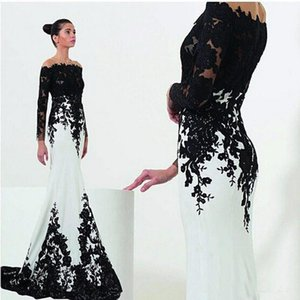 Wholesale White and Black Evening Dresses Long Sleeves Mermaid Style Sweep Train Lace Off the Shoulder Mother Dress Formal Gowns Prom Party Dresses