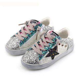 KIDS Toddler Baby Glittler Shoe Girl Star White Sneaker Boy Sport Shoe Kid Child Causal Trainer Sequin Flat 3 color on Sale