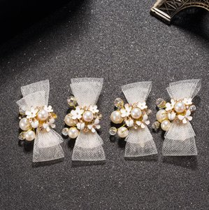 Wholesale Bow tie bridal hair ornaments white wedding dress accessories
