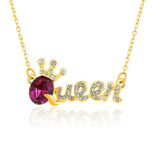 Wholesale 10 Color elegant queen pendant necklace with crystal diamond collarbone chain fashion accessories birthday nice gift free ship