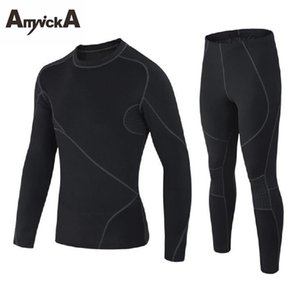 Wholesale AmynickA Brand Thermal Underwear Sets Men New Winter Quick Dry Warm Men s Thermo Underwear Male Warm Long Johns Black A35A