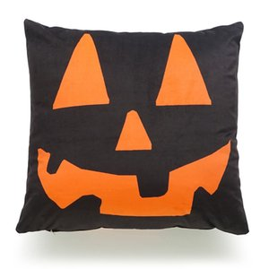 Wholesale Halloween Pumpkin Trick or Treat English Letter Stripe Witch Sofa Cushion Pillowcase Decoration Linen Pillow Case