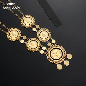 Wholesale Long Coin Necklace for Women Islam Muslim Arab Coins Jewelry Gold Color Egyption Middle Eastern Turkey Lira