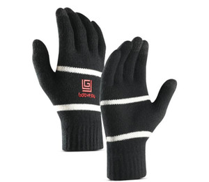 Men Fashion Autumn Winter Gloves Sports Outdoor motorcycle riding knitting wool velvet Thick Warm Ski Snow touch screen Five Fingers Mittens