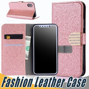 Wholesale Glitter Bling Leather Case Diamond Leather Wallet Cover Pouch With Card Slot For iPhone X S Plus For Samsung S8 Plus S7 Edge Note8
