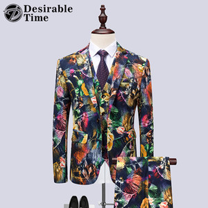 пром костюмы оптовых-Mens Flower Suits with Pants Fashion Prom Dress Suit Men Piece Floral Wedding Suits for Men Stage Clothing for Singers DT532