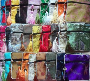 Wholesale jewelry bag gift bag jewelry pouches mixed color silk bag size x11 CM Chinese traditional stain bag