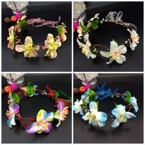Wholesale Bohemian Style Seaside Garlands Vacation Hair Hoop Photograph Wreaths Bride Pure Handmade Artificial Flowers Hand For Girls lk jj