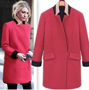 Free shipping High Collar Long Sleeve Woman One Button Wool Coat Slim Autumn Winter Jacket Fashion Girl Long Woolen Overcoat Female