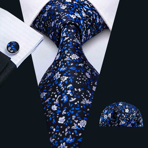 Men's Tie Set Dark Blue Embroidery Elegant and Novel Hankerchief Cufflinks Set Silk Business Casual Party Necktie Jacquard Woven N-5035