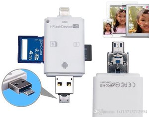 Wholesale 3 in for iFlash Drive USB Micro SD SDHC TF Card Reader Writer for iPhone XS Max ipad itouch and Android Phones
