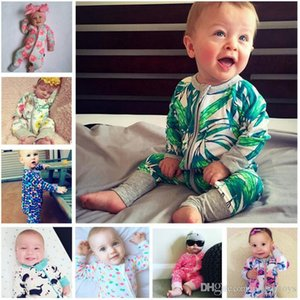 Wholesale 35 Colors Onesies Ins Baby Printed Rompers One Piece Onesies Infant Toddle Jumpsuits Cute Kids Climbing clothes Children Clothing