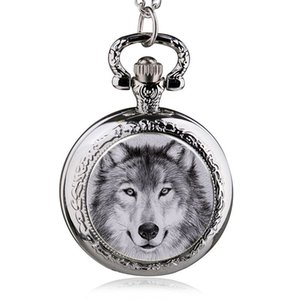 Wholesale New Fashion Wolf Quartz Pocket Watch Pendant Necklace Men Watch Women