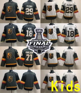 Youth Kids 2018 Stanley Cup Patch Jerseys 18 James Neal 29 Marc-Andre Fleury 71 William Karlsson White Grey Vegas Golden Knights Stitched on Sale
