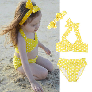 Kids Girl Swimsuit Polka Dot Bikini 3 pcs Set For Girls Children Summer Princess Girls Swimwear Swimming Bikini Suits B11