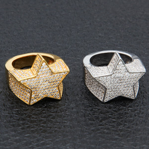 Wholesale stars shape for sale - Group buy Men s Fashion Copper Gold Color Plated Ring Exaggerate High Quality Iced Out Cz Stone Star Shape Ring Jewelry