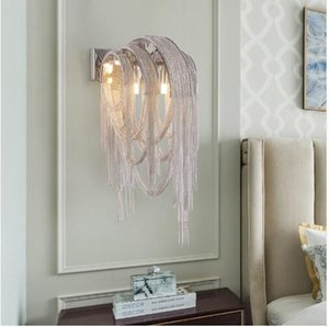 Wholesale Nordic Post modern Fringed Aluminum Chain Led Wall Light Living Room Restaurant Aisle Club Lights Bedroom Bedside Wall Lamp