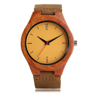 Fashion Sandalwood Wooden Watch Men Handmade Analog Bamboo Creative Watches Women Genuine Leather Band Quartz Analog Clock Gift