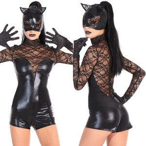 Black Cat Girl Halloween Costumes For Adults Sexy High Collar Lace Long Sleeves Party Dress Jumpsuit+Mask+Gloves In Stock