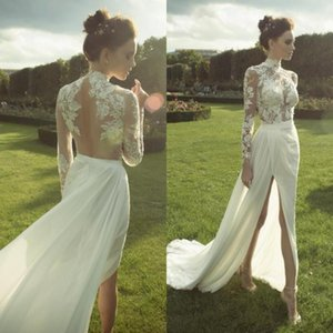 Wholesale Illusion Bodice Sheath Lace Wedding Dresses High Split Hollow Back Court Train Chiffon High Neck Long Sleeve Bridal Gowns 2019 New W1000