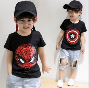Kids Boy Sequins T-shirt INS bling Fashion Summer Tee Short sleeve Tops for boy Girls Embroidered Reverse Patch T Shirts for 3-8T 90-130