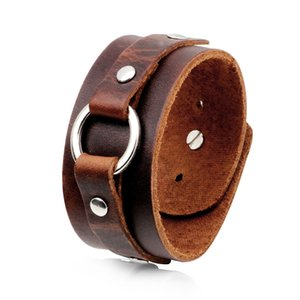 Wholesale Men s Punk Leather Bracelet Wide Leather Black Brown Bracelet Casual Bracelet Street Shoot Party Gift Travel Memorial
