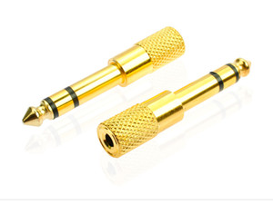 Wholesale 6 turn hole gold plated dual channel audio adapter microphone MIC audio adapter