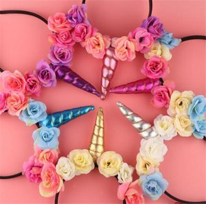 Wholesale Unicorn Horn Hairband Kids Unicorn Headband for Party DIY Hair Accessories Flower Hair Clasp Cosplay Crown Baby Headband Cat Ears Y147
