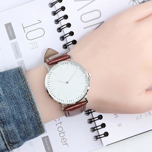 Wholesale Simple Ultra thin Quartz Leather Strap Wrist Watch Men Fashion Dress Women Watches Color Casual Sport Couple Clock Reloj Mujer