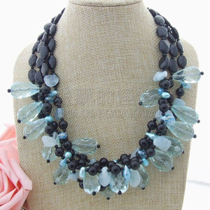 "Wholesale N013015 20"" 3 strands Onyx Blue Crystal Stone Necklace"