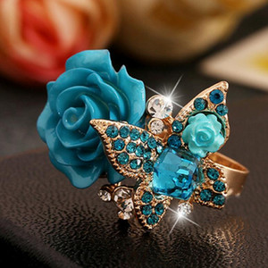 Wholesale designer jewelry Bohimian rings rose flower butterfly crystal rings for women ethnic classic to prarty hot fashion