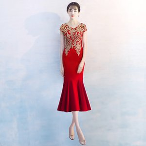 Wholesale Elegant Improved V-Neck Embroidery Qipao Red Burgundy Tea-Length Mermaid Evening Gowns Chinese Traditional Dress Party Dress D23B