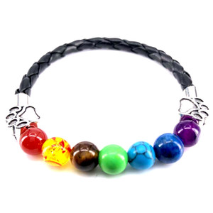 2018 New Hand Made PU Leather Bracelet 7 Chakra Men Women Bracelet Dog Paw Charm Bangle for Pet Lovers Jewelry Gift B18081