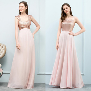 Wholesale 2018 Real Image Bridesmaid Full Sequined Cap Sleeve Dresses Chiffon Bride Formal Party Dress Backless Prom Gowns Robe De Soiree CPS768