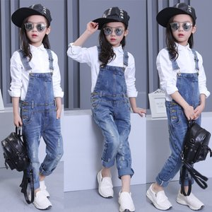 Wholesale New Kids Children Girls Clothes Denim Cowboy Hole Jumpsuit Overalls Playsuit For Student Teen Girls Blue Long Jeans Pants