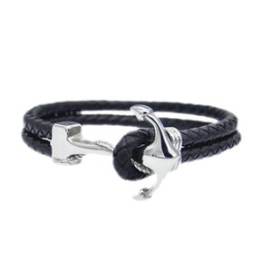 Wholesale fashion European and American titanium steel jewelry personality anchor stainless steel braided leather bracelet men s Leather Bracelet