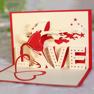 Wholesale Creative LOVE Heart Tree D Pop Up Paper Greeting Card Festival Birthday Gift