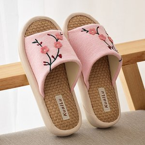 New brand Summer Flax Chinese style Household Slippers Wooden Floor Antiskid Soft Bottom Indoor Couple Slippers no 461 on Sale