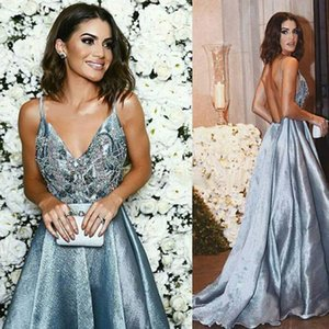 Wholesale Vintage Long Train Blue Lace Prom Dresses 2019 Deep V Straps Sequins A-Line Special Occasion Dresses Charming Evening Dresses