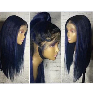Wholesale Hot Beautiful Heat Resistant Lace Front Wigs With Baby Hair inch Glueless Ombre Blue Wigs Silky Straight Synthetic Wigs For Black Women