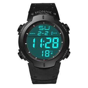 2018 Mens Clock Digital Analog 2018 Waterproof Men's Boy LCD Digital Stopwatch Date Rubber Sport Wrist Watch Relogio Masculino