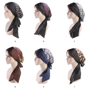 Wholesale Muslim Women Silk Satin Print Flower Bow Knot Turban Hat Pre Tied Scarf Chemo Beanies Caps Headwear Wrap Hair Loss Accessories