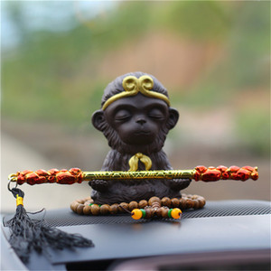 Wholesale Creative Purple sand ceramic ornaments Car Perfume Holder animal Decoration Ornaments Can add perfume Chinese style Cute little monkey
